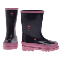 J Crew crewcuts Girls Navy Wellies w Pink Flamingos