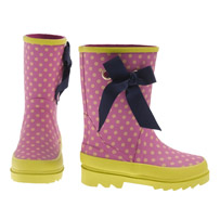 J Crew crewcuts Girls Pink Wellies w Navy Bow