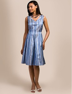Brooks Borthers Blue Striped Silk Sheath