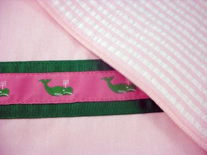 Preppy Princess Pink Seersucker Placemat Closeup