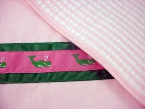 Preppy Princess Pink Seersucker Placemat Closeup