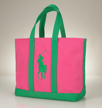 Ralph Lauren Polo Preppy Pink & Green Tote for Moms Day