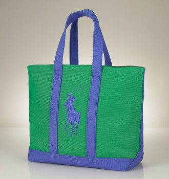 Ralph Lauren preppy Polo Tote in Green & Blue, Mom\'s Day gift