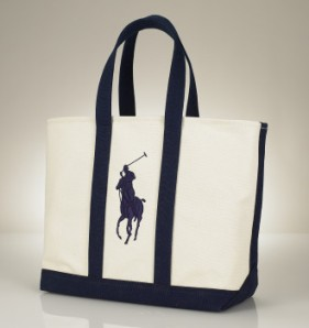 Ralph Lauren Polo tote in Natural & Newport navy, Mom\'s Day