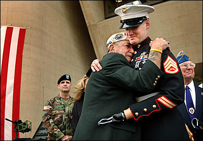 Houston James hugs Sgt. Mark Graunke