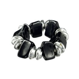 Target Stretch Beaded Silver Bracelet
