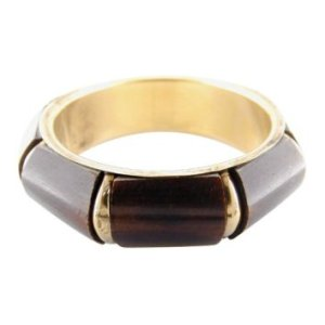 Natural Horn and Brushed Brass Bangle Bracelet - Brown