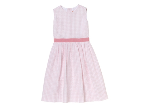 Pink Check Seersucker Dress at Kule with Pink Grosgrain Ribbon