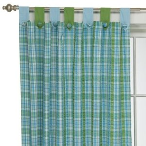 Target Aqua Plaid Seersucker Curtain Panel