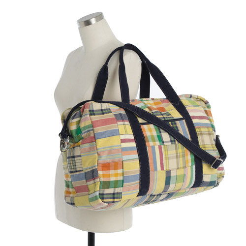 J Crew preppy Madras Duffel Bag