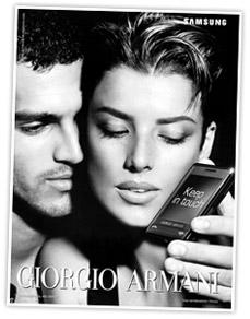 Agyness Deyn Armani Phone B&W print campaign ad