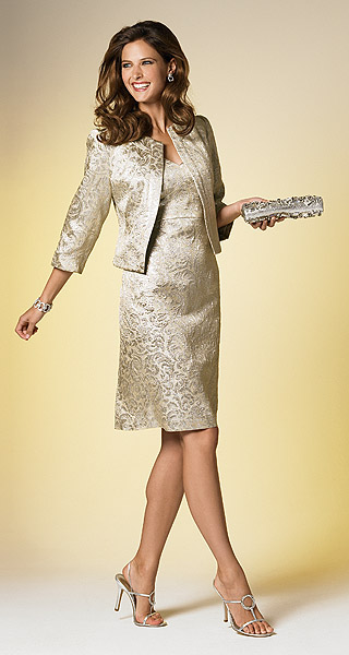 Muse Shimmery Metallic Brocade Dinner Suit at Barrie Pace