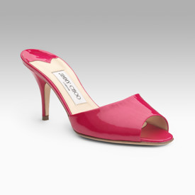 Jimmy Choo Pink Patent Slides at Saks