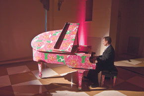 Pink & Green Lilly Pulitzer piano Steinway & Sons