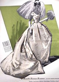 Vintage Bonwit Teller ad for House of Bianchi Wedding Gown