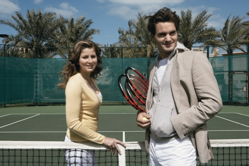 Roger Federer and Mirka Vavrinec at the Skyview Bar on the 27th floor of the Burj Al Arab hotel, Dubai