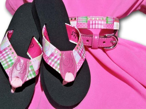 Preppy Princess Cotton Candy Bubble GUm Flip-Flops w/ Belt