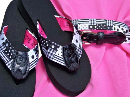 Preppy Princess Dominos Flip Flops & Belt Combo