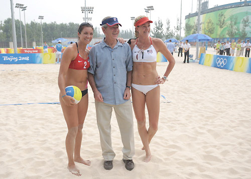President Bush with Kerri Walsh (L) & Misty May Trainor (R)