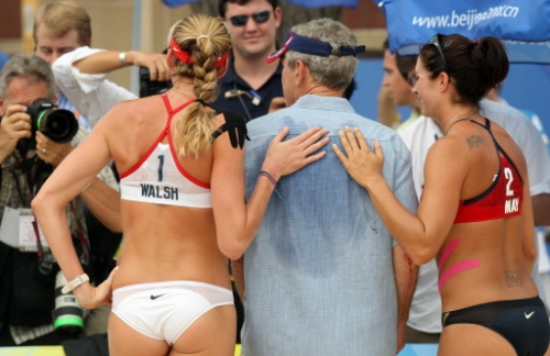 President Bush with Kerri Walsh (L) & Misty May-Treanor