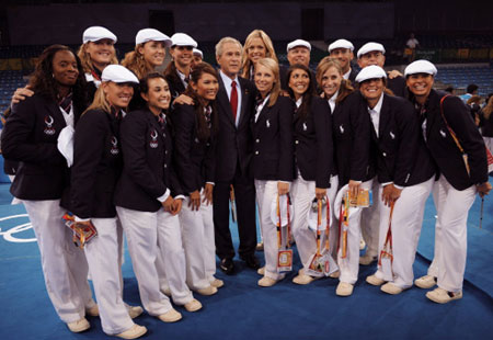 President Bush & USA Softball Team