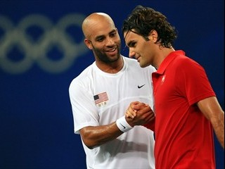 Roger Federer, Switzerland Congratulates James Blake, USA
