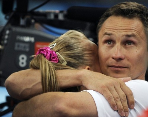 Valeri Liukin embraces daughter Nastia