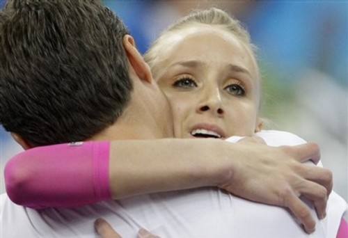 Nastia Liukin, Team USA embraces her Father & Coach Valeri