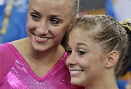 Olympic Gold Medalist Nastia Liukin (L), and Silver Medalist Shawn Johnson (R)