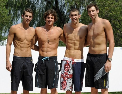 Michael Phelps (2nd R), Ryan Lochte (2nd L) and Australian swimmers Eamon Sullivan (L) and Grant Hackett (R)
