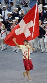 Parade of Athletes - Roger Federer Carries Swiss Flag