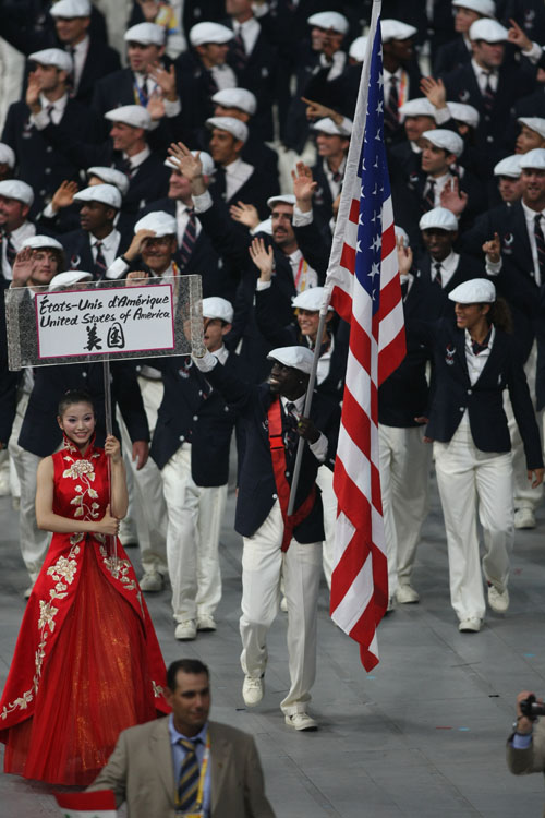 Lopez Lomong leads Team USA in the Olympic Summer Games Opening Ceremony