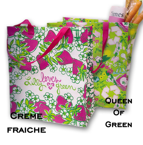 Lilly Pulitzer Creme Fraiche and Queen of Green market bags