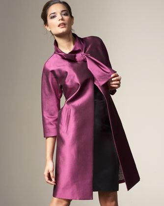 Lela Rose 'Silk Bow Coat'