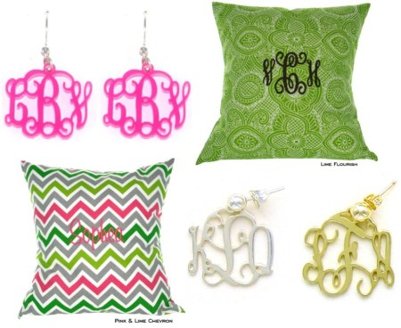 Heartstrings Monogrammed Pillows & Earrings